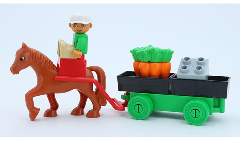 Big SIze Building Blocks Accessory City Bus Truck Aircraft Transport Fire Truck Brick Model Compatible Duploe Toys for children  (2)