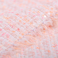 145CM Wide 400G/M Weight Knitted Tweed Soft Sweet Pink Acrylic Polyester Fabric for Autumn Spring Dress Coat Jacket DE667