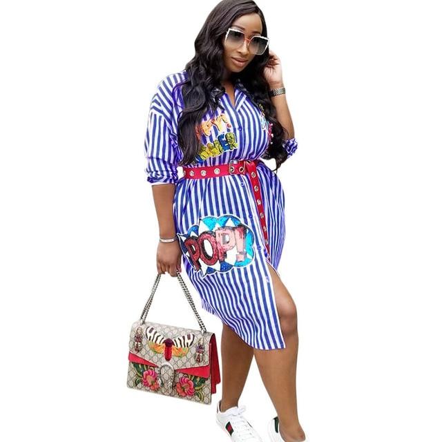 Fall 2018 Women Classic T Shirt Dress With Sequins Buttons Open Half Sleeve Blue Striped Dress Pop Letters Autumn Dress Sukienki