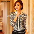 YEYELANA Women Blouses 2017 New Spring Korean Style Fashion Flower Pring Long Sleeve Lace Blouse Ladies Elegant shirts A005