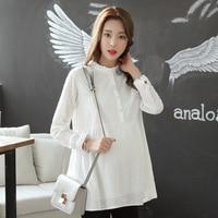 Spring Summer Maternity Dress New Fashion Pregnancy Clothing Maternity Shirt Pregnant Shirts Chiffon White Plus Size
