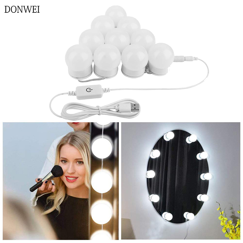 10 Bulbs Makeup Mirror Light Brightness Adjustable Cosmetic Mirror Lights Hollywood Style USB Charged Vanity Makeup Mirror Light(China)