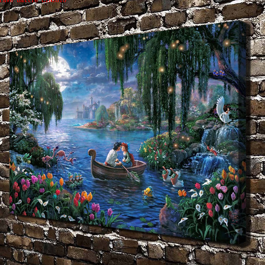 Thomas kinkade long hair princess cartoon canvas painting - Home interiors thomas kinkade prints ...