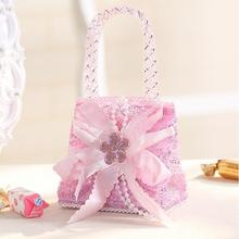 24pcs/lot Pink Bellyband Baby Shower Candy Boxes Hand Bags Shopping Makeup Birthday Party Gift