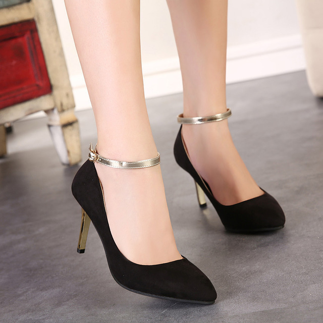 Fashion 2015 Women Gold Black Colsed Toe Ankle Strap Heels Sexy ...
