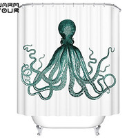 Warm Tour Octopus Print Kraken Ocean Mildew Resistant Waterproof 100% Polyester Fabric Shower Curtains Green and White
