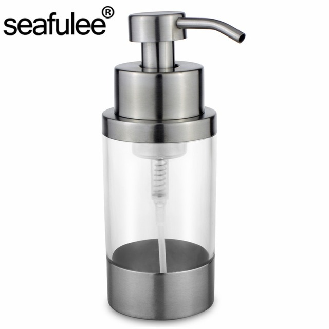 304 Stainless Steel Foaming Soap Dispenser Pump Bottle Bathroom Kitchen  Countertop Refillable Accessory Acrylic 250ML