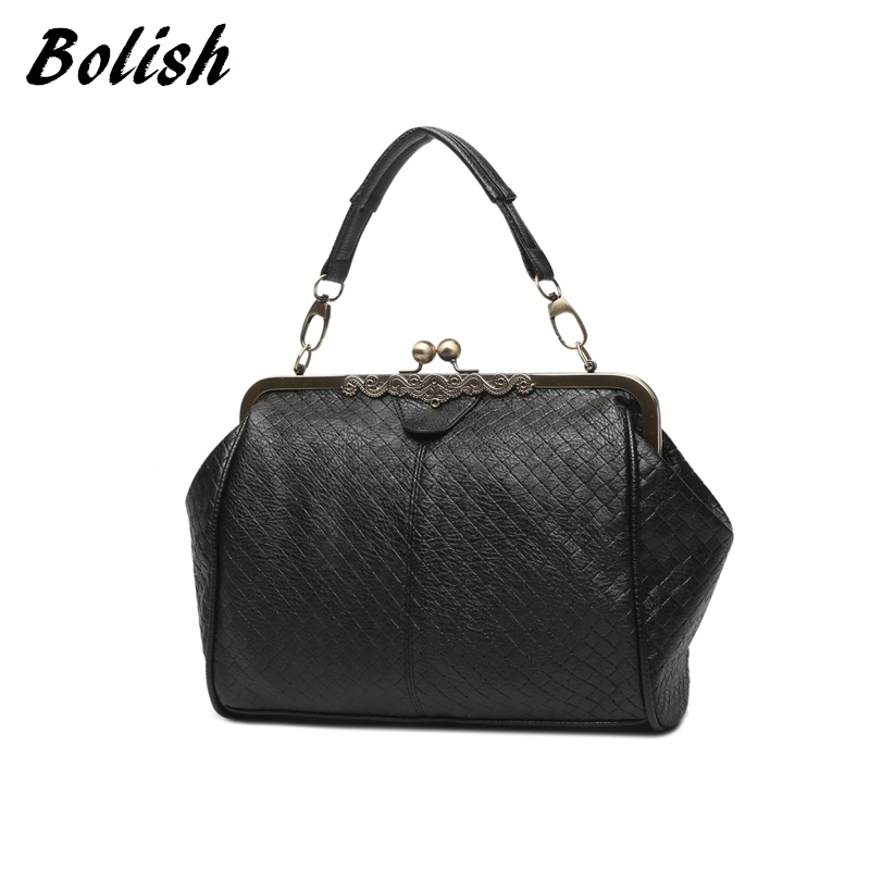 Bolish New Arrive Knitting Retro Clip Women's Handbag Vintage Women Messenger Ba