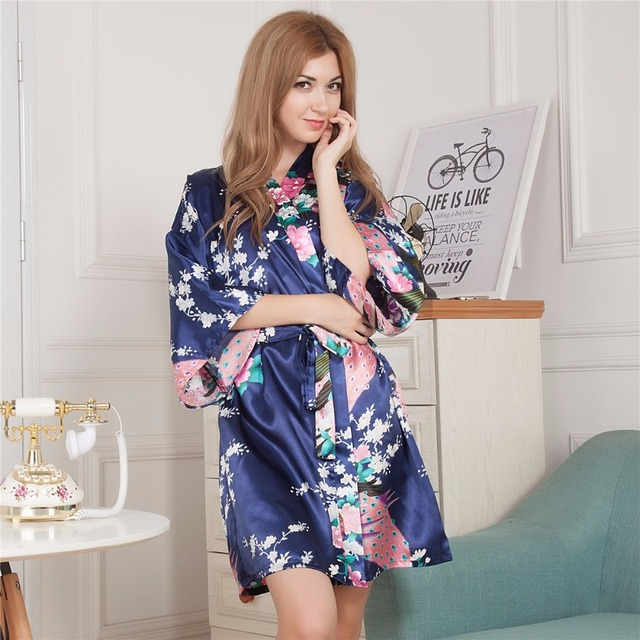 5ac122e2c0 Navy Blue Silk Wedding Bride Bridesmaid Robe Bathrobe Short Kimono Robe  Night Robe Bath Robe Fashion Dressing Gown For Women