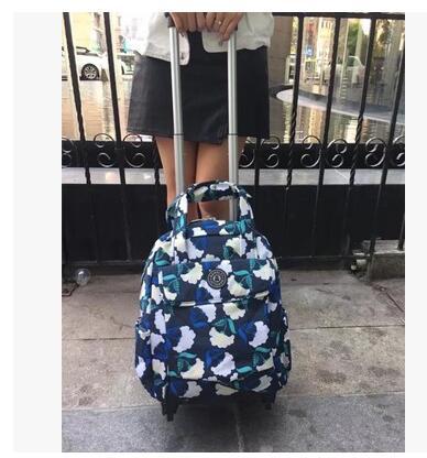 여자 여행 트롤리 가방 여자 여행 수하물 트롤리 배낭 가방 바퀴 옥스포드 롤링 바퀴 달린 가방 배낭 가방-에서여행 가방부터 수화물 & 가방 의  그룹 1