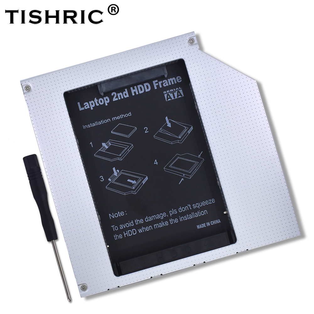 TISHRIC 12.7mm IDE To 22pin SATA Caddy Enclosure Case Laptop ODD DVD-ROM Optibay Adapter For 2nd 2.5 HDD SSD Hard Drive Disk Box