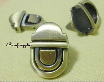 purse lock wallet Thumb latch tongue clasp anti brass 1 inch x 3/4 inch E54