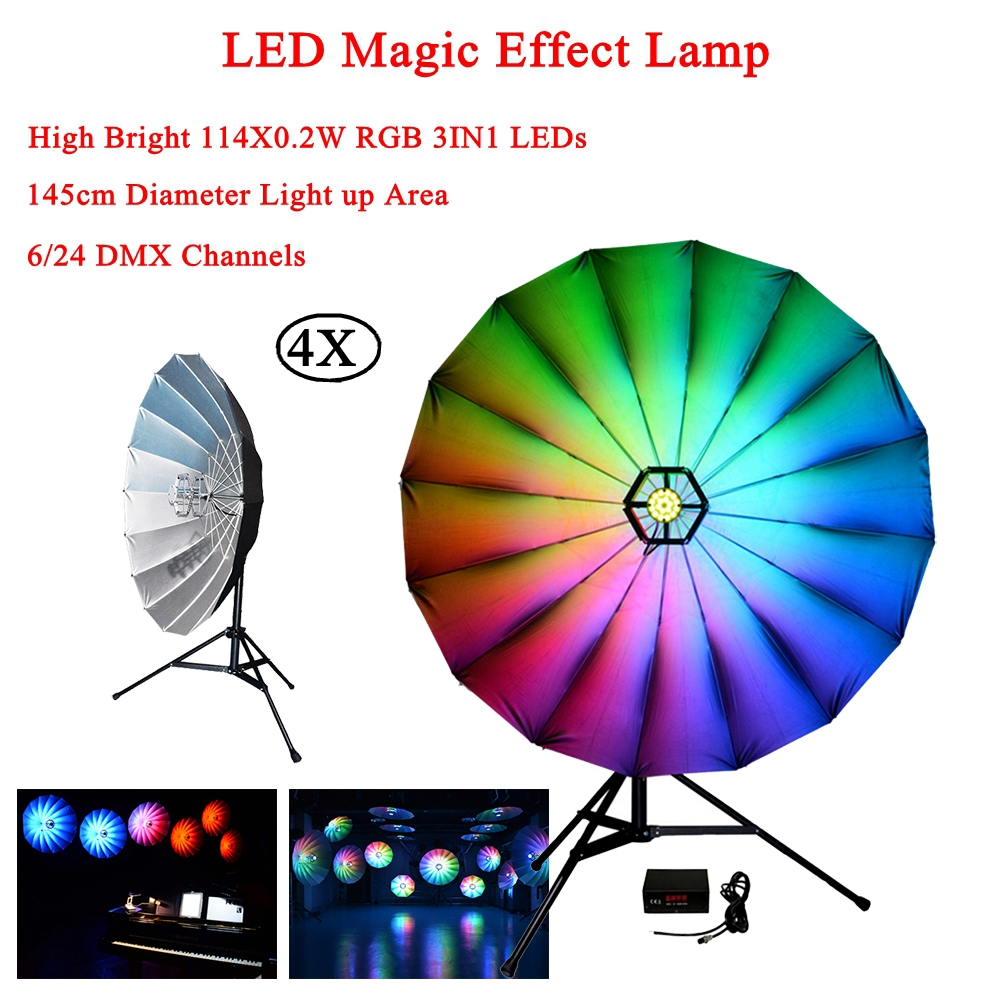 4Pcs/Lot Stage Light Powered Sound Actived Multicolor Disco DJ LED Magic Effect Lamp For Birthday Party KTV Perform Concert Etc