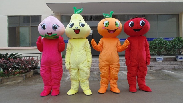 1pcs high quality Peach Pear Orange Tomato character EVA with Plush Mascot Costume in box via EMS.4 kinds for select.