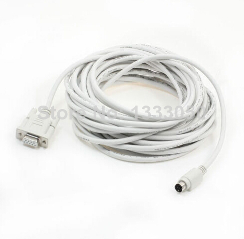 RS232 DB9 Female to 6P Mini Din Male PLC Programming Cable 32.8Ft 10 Meter tusa rs 460 din