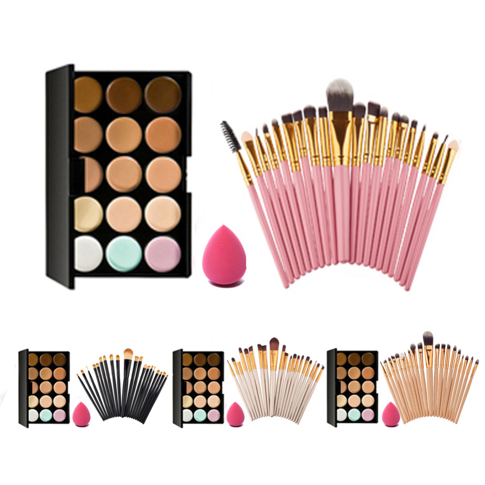 15 Colors Face Cream Concealer Palette+20pcs Makeup Brushes Set+Powder Puff Professional Maquiagem Cosmetics Set new arrival 15 color concealer palette sponge puff 24 pcs cosmetic makeup brushes set professional beauty essentials 8 17