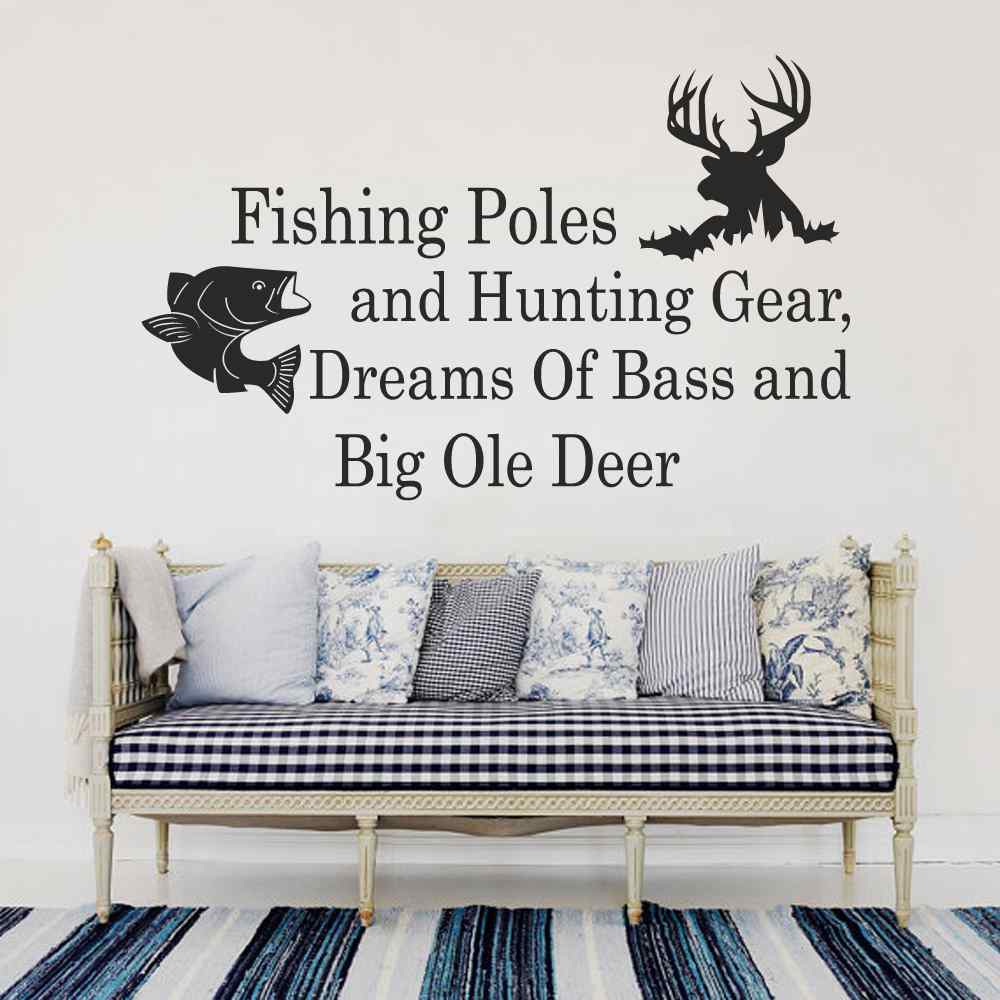 Designer cloth sofa drip sofa hotel lobby sofa china mainland - Fishing Poles And Hunting Gear Dreams Of Bass And Big Ole Deer Country Wall Decal Quotes Bedroom Nursery Living Room Decor