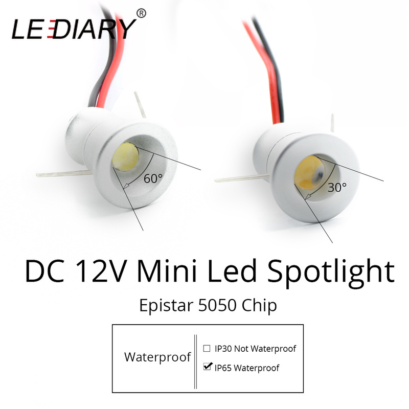 LEDIARY IP65 DC12V Mini LED Spot Cabinet Lights Downlight 15mm Cut Hole RA80 Under Cabinet Jewelry Display Ceiling Recessed Lamp(China)