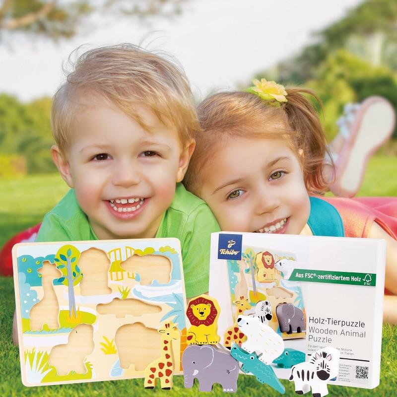 Доска детские животные 3D деревянные многоцветные познания животные соответствующие головоломки Детская игровая деревянная доска