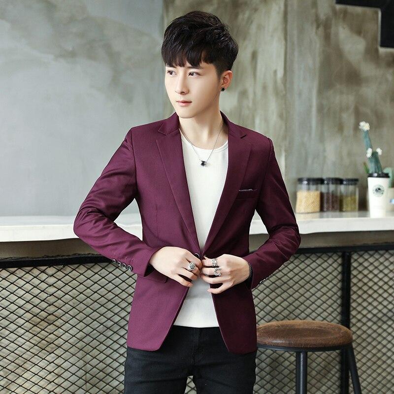 Сплошной цвет мужской бейзер пиджак 2019 свободное, облегающее Блейзер Masculino одной кнопки куртка в стиле кэжуал Masculino красный синий черный M-3XL
