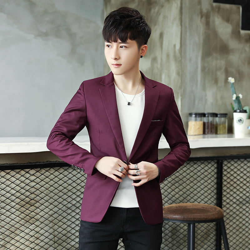 Solid Color Blazer Jacket Men 2018 Leisure Slim Fit Blazer Masculino Single Button Casua ...
