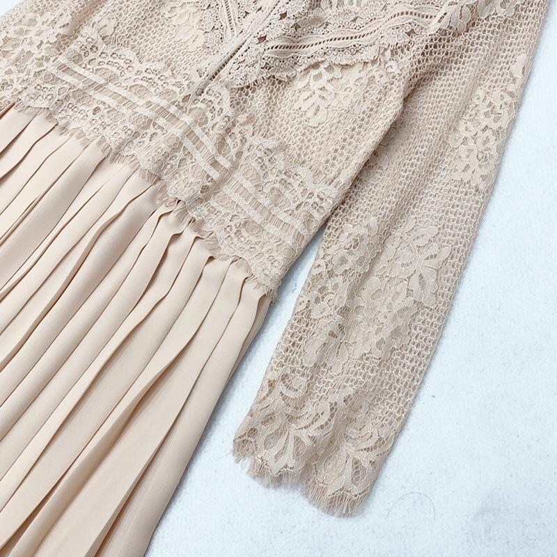 Image 5 - QZ05 New Spanish Design O Neck Lace Patchwork Pleated Fairy Dress Women Solid Color Sweet VestidosDresses   -