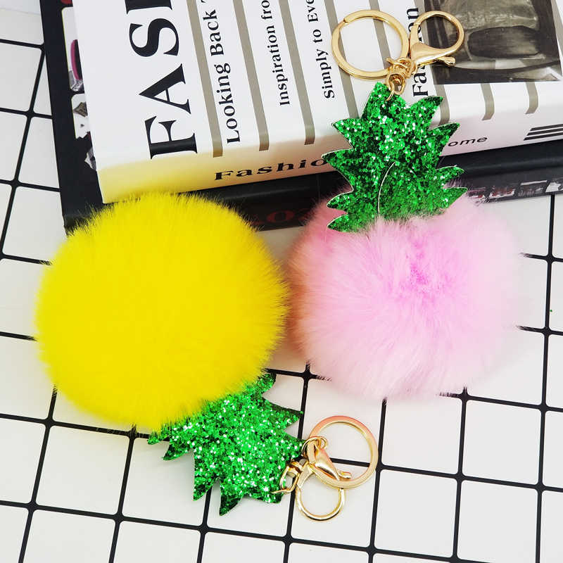 Sequin Glitter Keychain Pokemon Pineapple Fur Pompom 10cm Ball Key Chains Women Bag Decorative Pendant Car Key Accessories Gifts
