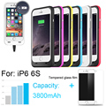 3800mAh External power bank Power pack Charger Backup Battery Case For iphone 6 6s with USB cable line Tempered glass film