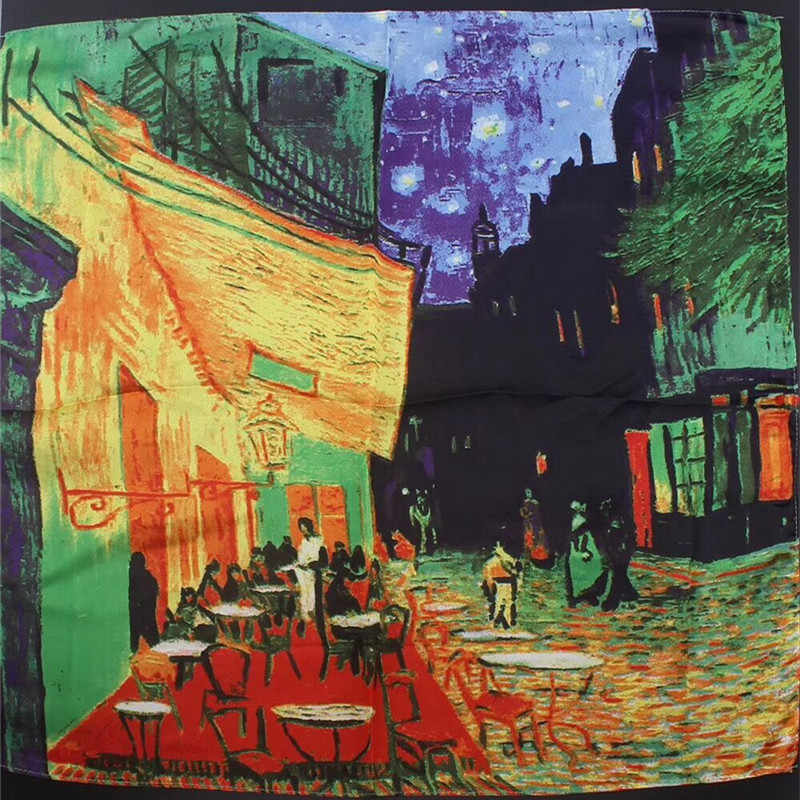 Van Gogh Oil Painting Square Scarves New Silk Scarf Bandanna Women Scarf Fashion Head Neck Tie Band Professional Neckerchief