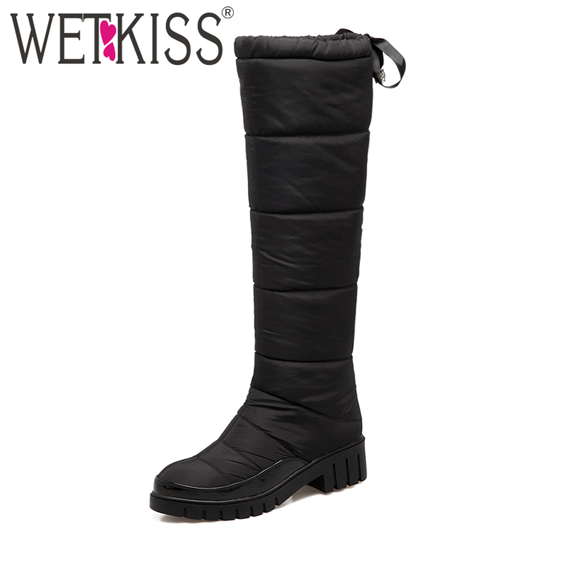 WETKISS 2018 Winter Boots Women Thick Plush Warm Knee High Boots Lace up Square Heels Platform Snow Boots Down Fur Shoes Woman