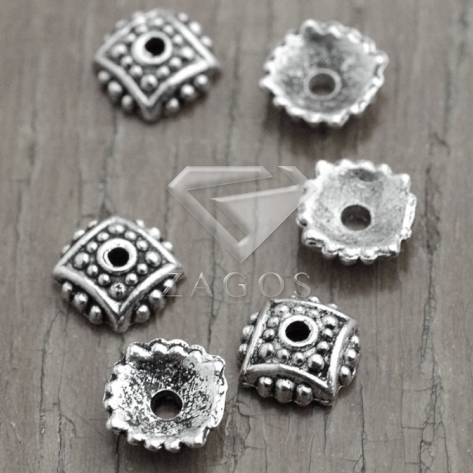 22pcs Tibetan Silver Tone Bead Cap Design EF2262