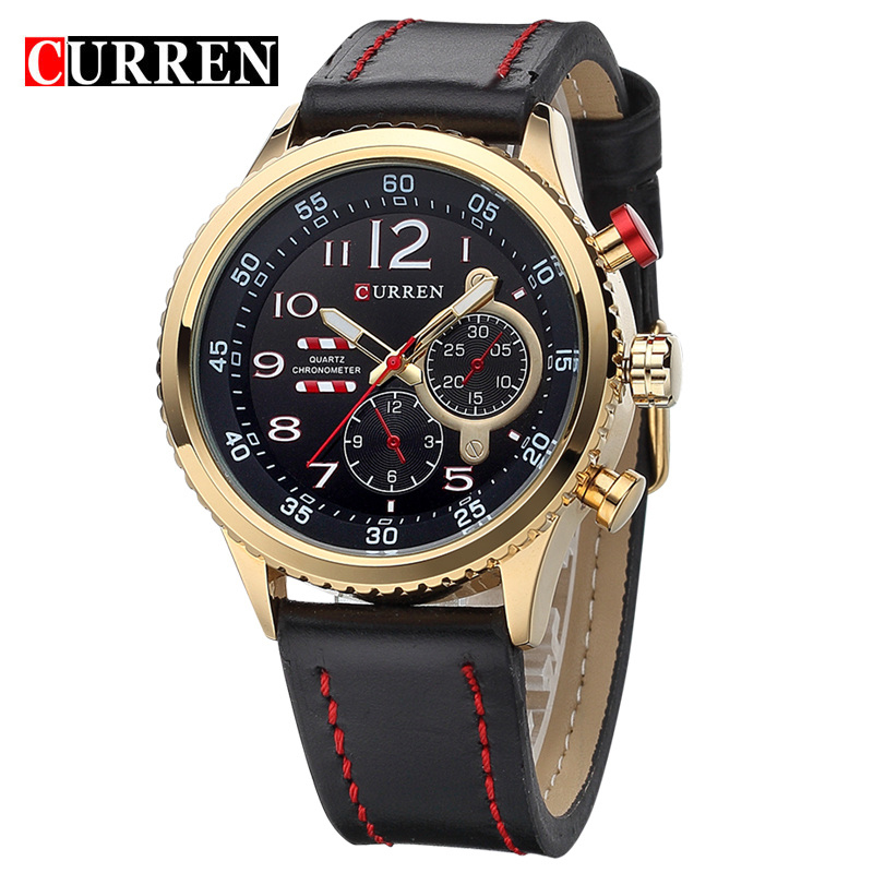 CURREN 2017 Top Brand Mens Quartz Watches Men Fashion Casual Sports Watch Man Waterproof Clock Male Wristwatch Relogio Masculino hongc watch men quartz mens watches top brand luxury casual sports wristwatch leather strap male clock men relogio masculino