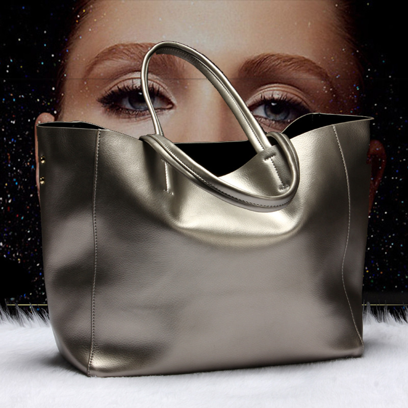 2017 New genuine leather bag women high quality large capacity handbag  elegant lady casual totes bronze silver shoulder bags sac-in Top-Handle Bags  from ... 4773d6703ac0d