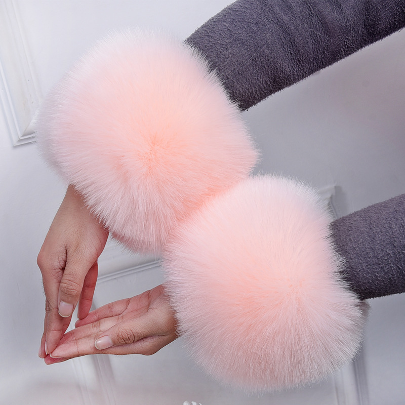 MIARA.L Arm Warmers Sleeve Cuff Bracelet Wristbands Faux Fur Hand Ring Sleeve Fox Fur For Female In Winter Free Shipping