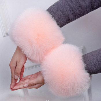 MIARA.L arm warmers sleeve cuff bracelet wristbands faux fur hand ring sleeve fox fur for female in winter free shipping square faux gemstone double layered cuff bracelet