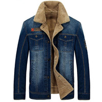 AFS JEEP Winter Thicked Coats Casual Denim Jacket Men Thick Warm Fleece Collar Blue Male Fashion