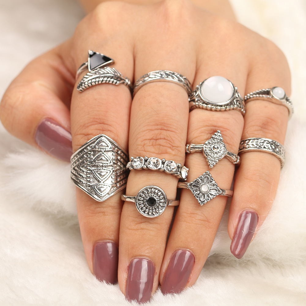 15PcsSet Fashion Vintage Ring Set Femme Stone Silver Midi Finger Rings Boho Women Jewelry Knuckle Ring Set Jewelry Gift (2)