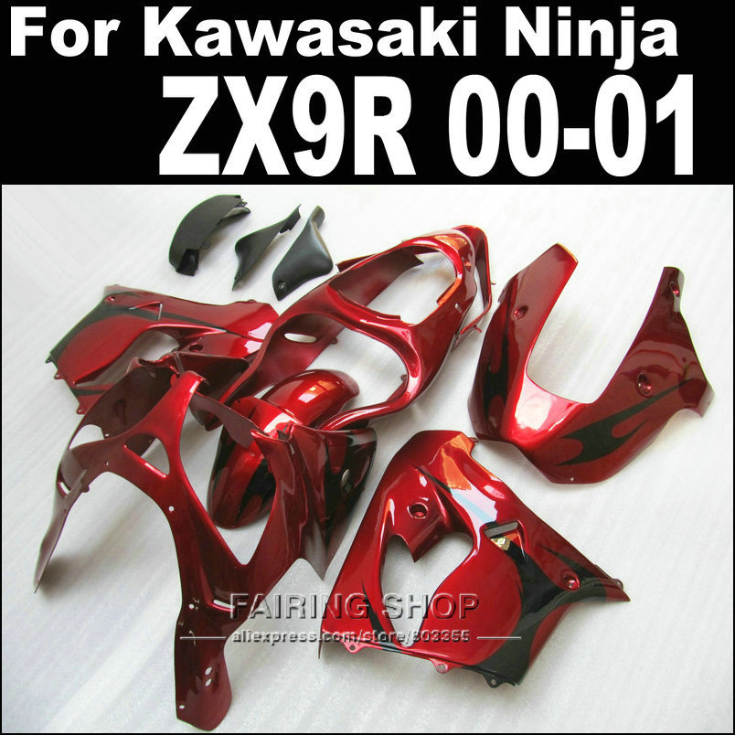 Wine red style For Kawasaki Ninja zx-9r zx9r fairing kit 2000 2001 00 01 ( Customize sticker ) Abs Fairings xl30 high grade for kawasaki zx12r fairings 2000 ninja zx12 fairing 2001 zx 12r 00 01 green flame in glossy black sm17
