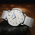 Los hombres de Moda de primeras marcas de lujo relojes de los hombres correa de malla de acero inoxidable reloj de cuarzo ultra delgado reloj dial relogio masculino 2016