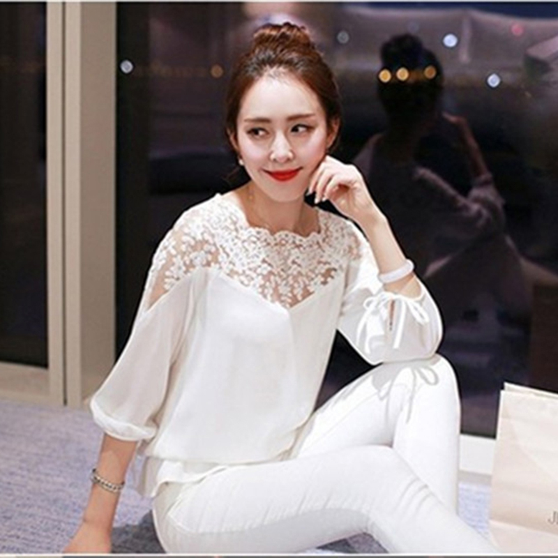 2018 Fashion Women Lace Shirts White Tops Summer Women Chiffon Blouse Feminine Blouse Long Sleeve Stitching Blusas Feminina