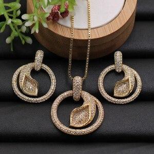 Image 2 - Набор ювелирных изделий Lanyika, геометрическое кольцо с пальмовым листом, ожерелье с фианитом и серьги для помолвки, лучший подарок