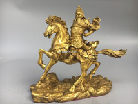 9'' Classica Brass carved chinese folk Martial god Guan Gong ride a horse statue