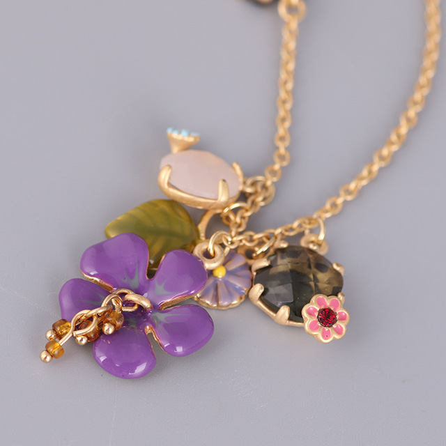 French Les Nereides Enamel Necklaces Purple Flowers Butterfly Crystal Short Necklace For Women Lady Party Jewelry 2016 New