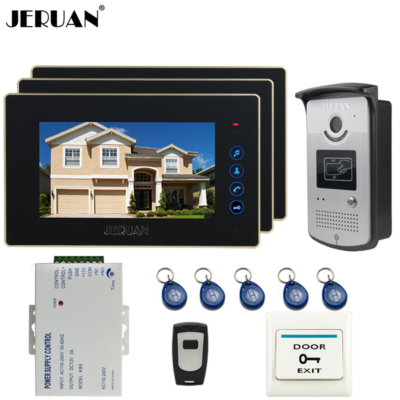 JERUAN 7 inch LCD Video DoorPhone Intercom System kit 3 Touch key Monitor +RFID Access IR Night Vision Camera For 3 Household rfid keyboard ip65 waterproof video doorphone intercom system for 3 apartments with 7 color lcd video intercom system in stock