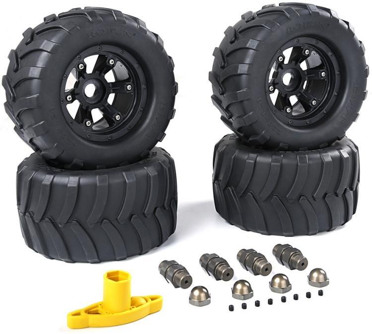 FG grandes roues et pneus avec adpters en alliage et clé de roue pour 1/5 FG (4 pièces/ensemble) taille: 220x100mm 86021-in Pièces et accessoires from Jeux et loisirs    3