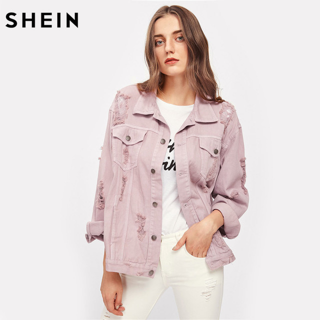 SHEIN Rips Detail Boyfriend Denim Jacket Autumn Womens Jackets and Coats Pink Lapel Single Breasted Casual Fall Jacket 6