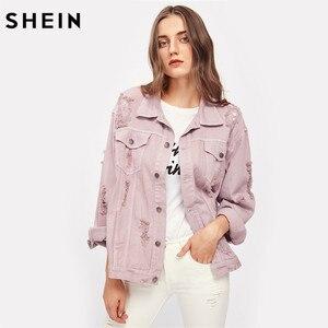 Image 4 - SHEIN Rips Detail chaqueta de mezclilla para novio, chaquetas y abrigos de otoño para mujer, chaqueta de otoño informal con solapa rosa y una botonadura