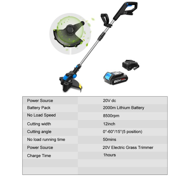 20V Electric Grass Trimmer Cordless Lawn Mower 12in Auto Release String Cutter Pruning Garden Tools 2000mAh Li-ion By PROSTORMER 2