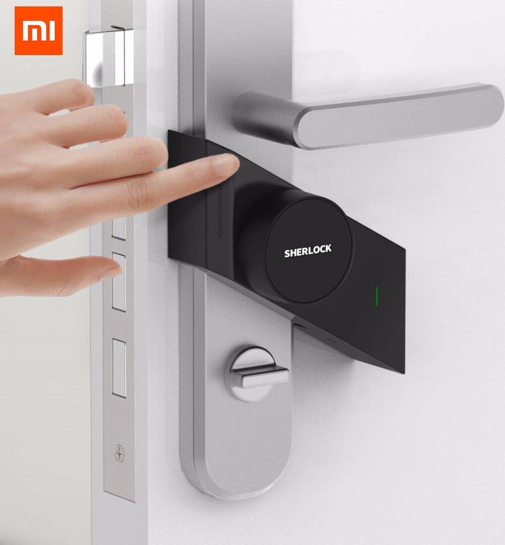 Original Xiao mi Sherlock bloqueio Inteligente mi M1 jia trabalho Inteligente Keyless fechadura da porta de Impressão Digital + Senha para mi casa aplicativo de controle de telefone