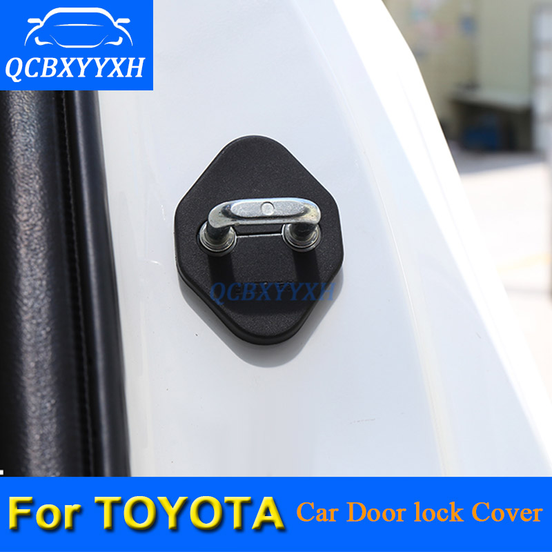 4pcs/lot Car Door Lock Protective Cover For Toyota Corolla Camry Highlander Vios RAV4 Prado Car Door Lock Decoration Auto Cover